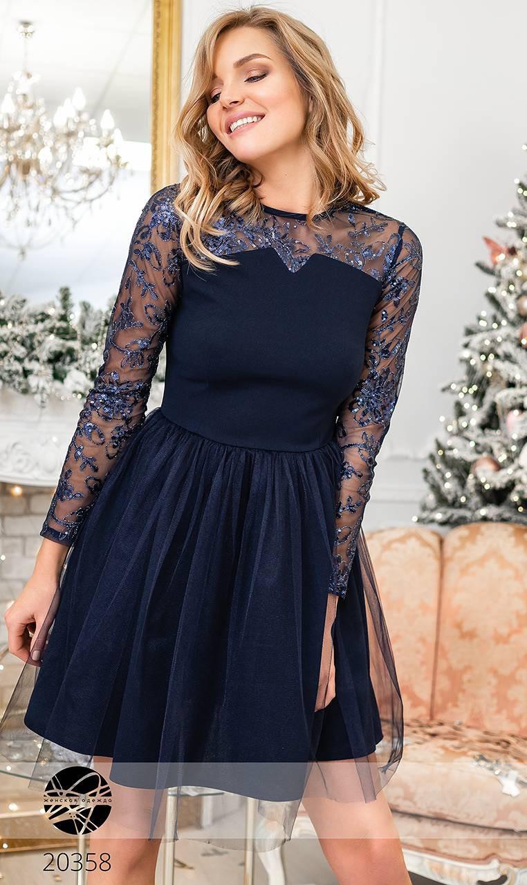 217638ec0a6 Вечернее платье с пышной фатиновой юбкой темно-синего цвета. Модель 20358. Размеры  42-46