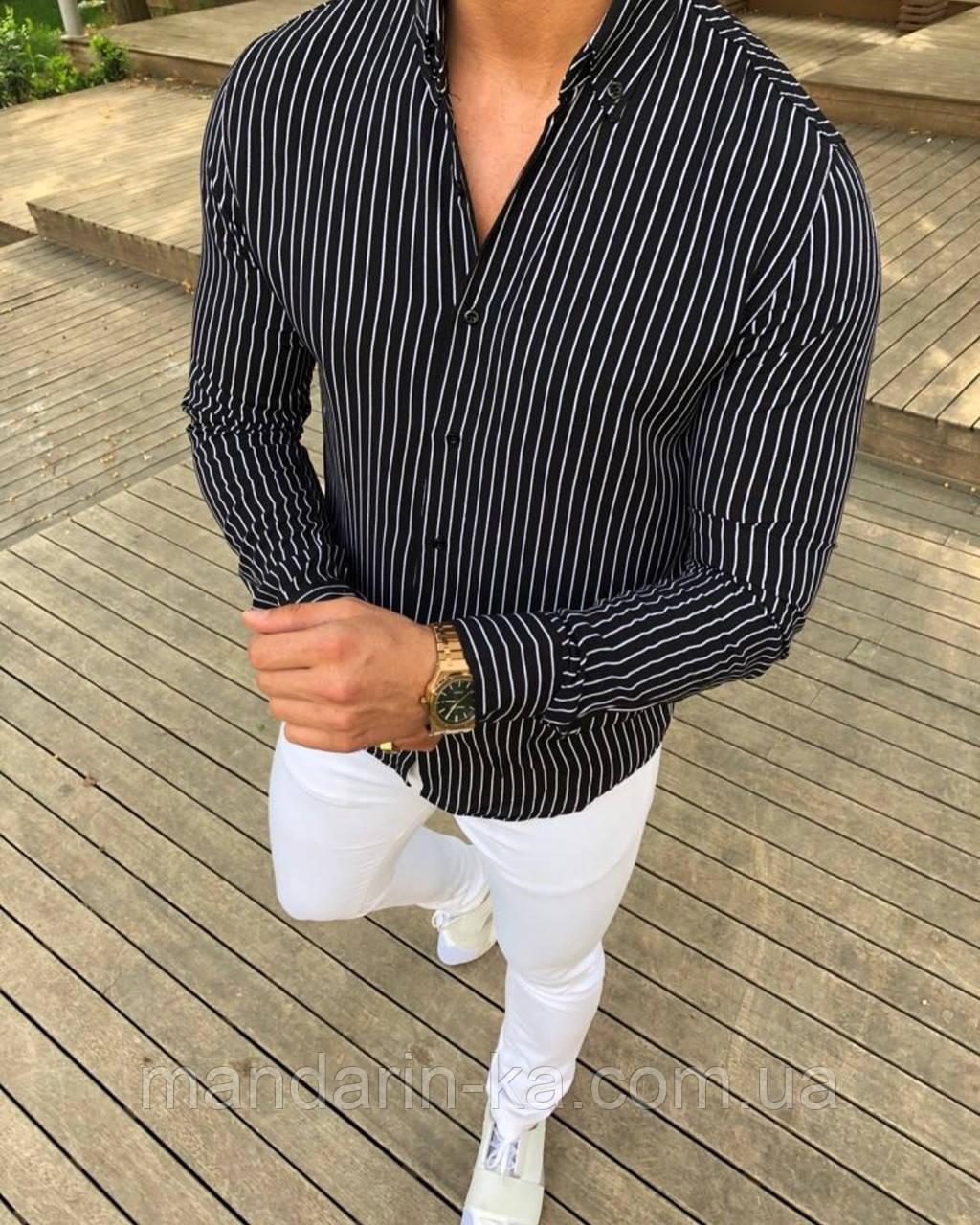 Мужская рубашка Slim Fit  в  полоску