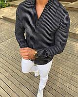 Мужская рубашка Slim Fit  в  полоску, фото 1