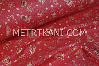 """Новогодняя ткань с """"Золотые ёлочки и снежинки"""" на красном фоне№1283"""
