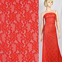 Кружевное полотно стрейч вьющиеся цветы красное, ш.150, фото 1
