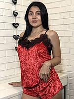 Красная бархатная пижама майка  и шорты, велюровые женские пижамы.