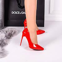 Туфли лодочки красные лаковые каблук шпилька
