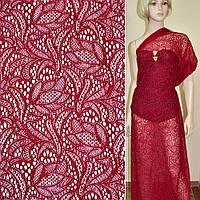 Кружевное полотно стрейчевое красное цветы ш.156, фото 1