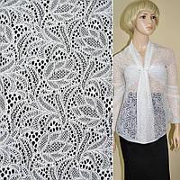 Кружевное полотно стрейч. белое цветы ш.155, фото 1