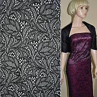Кружевное полотно стрейчевое черное цветы ш.155, фото 1