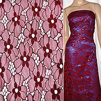 Кружевное полотно стрейчевое цветы бордовое ш.136, фото 1