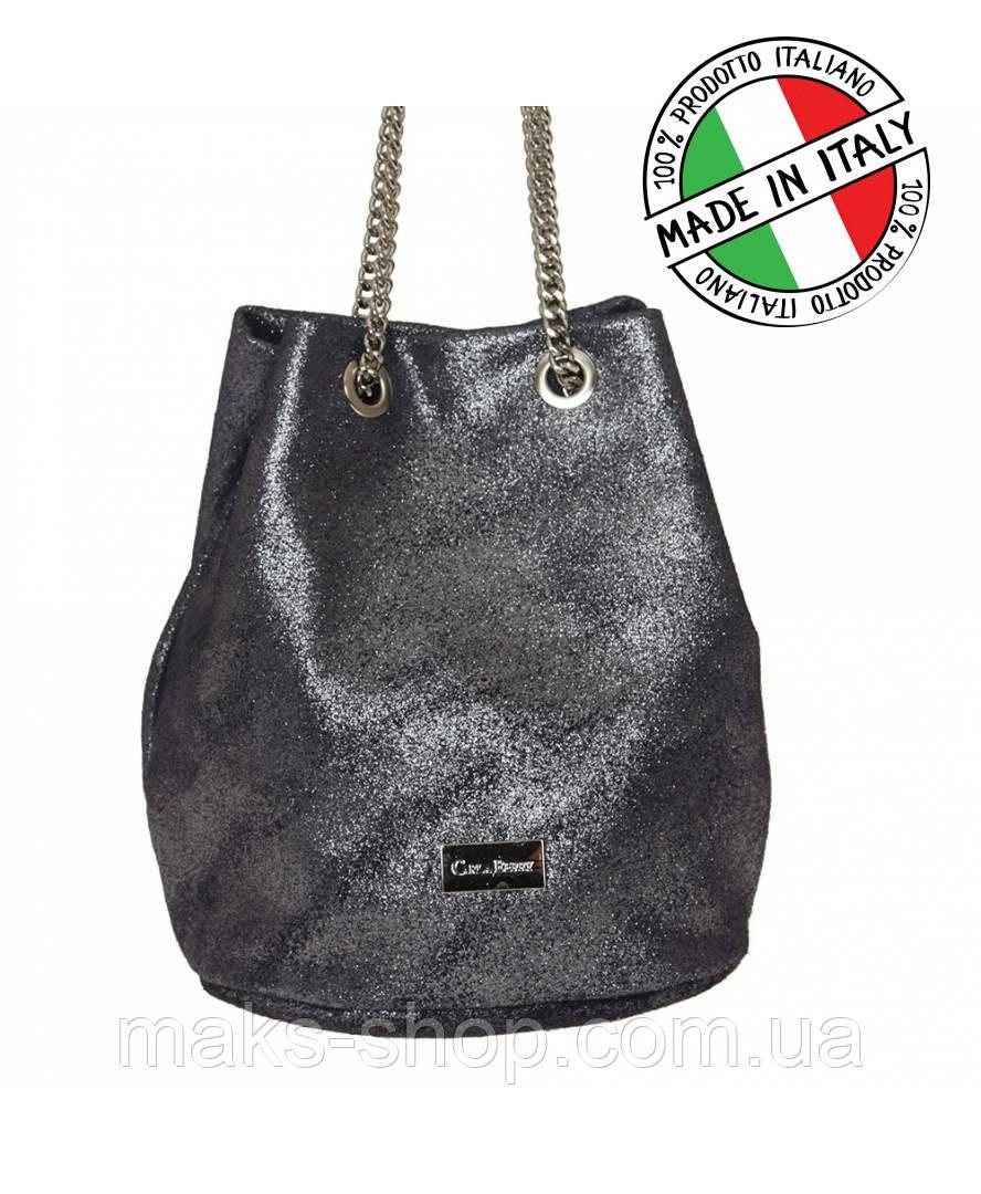 224bc777b90e Женская кожаная сумка Италия на цепочке Carla Berry 22/16 Бордовая черный -  Maks Shop