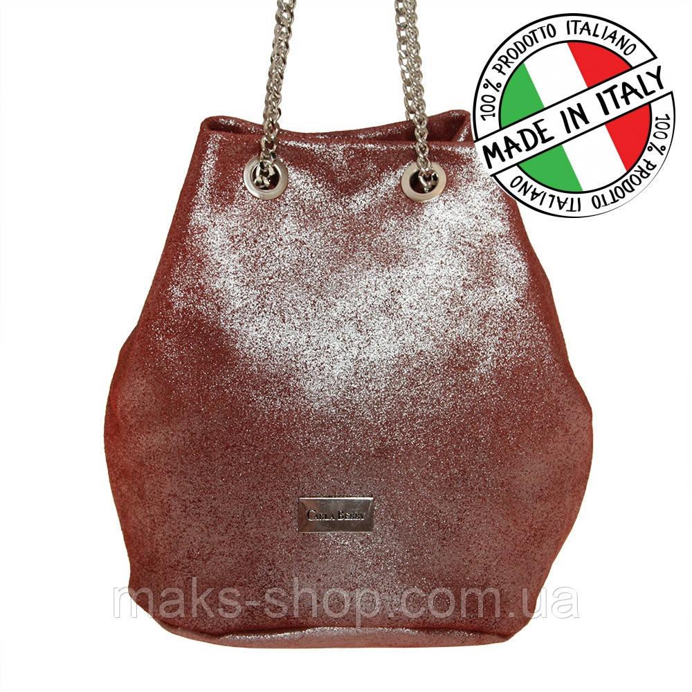 755641dae930 Женская кожаная сумка Италия на цепочке Carla Berry 22/16 Бордовая - Maks  Shop-