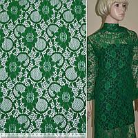 Кружевное полотно стрейчевое зеленое цветы с кругами ш.150, фото 1