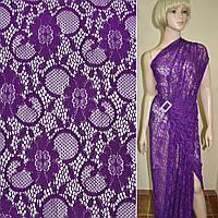 Кружевное полотно стрейчевое фиолетовое цветы с кругами ш.145, фото 1