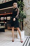 Женское красивое платье с сеткой в горошек, фото 4