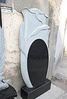 Памятник гранитный с розами, одинарный