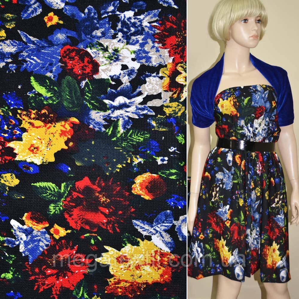 Микродайвинг черный с красно-синими цветами ш.170 ( 11201.012 )