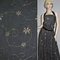 Джинс стрейч з бежевою вишивкою квіти завитки чорний (11305.001)