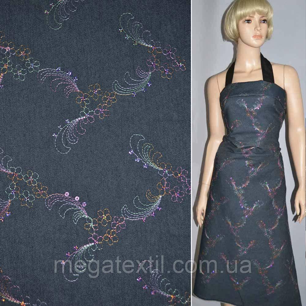 Коттон стрейч синий темный с розовой вышивкой и пайетками ( 11306.004 )