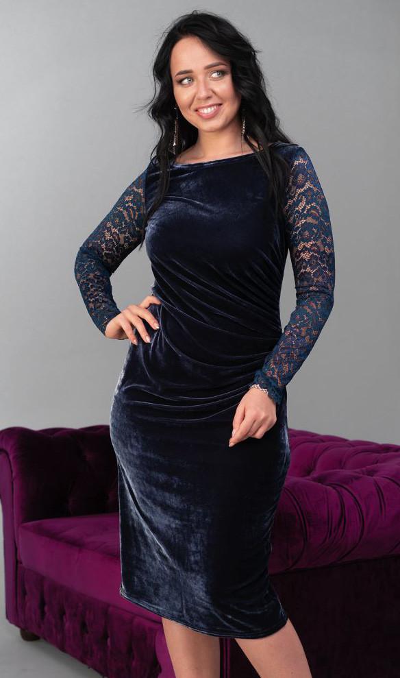 49561ec30f5 Вечернее бархатное платье миди темно-синего цвета. Модель 20204. Размеры  50-56