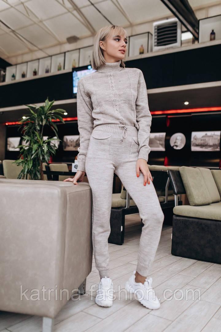 Женский вязаный костюм: свитер и штаны (2 цвета)