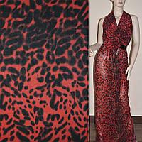 Крепдешин червоно-чорний принт леопард ш.150 (11407.002)