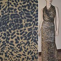 Крепдешин бежево-чорний принт леопард ш.150 (11407.003)