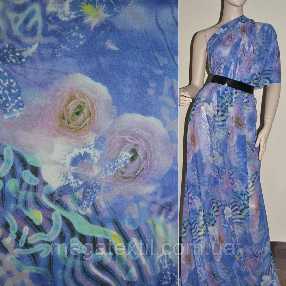 Крепдешин светло синий в розовые цветы
