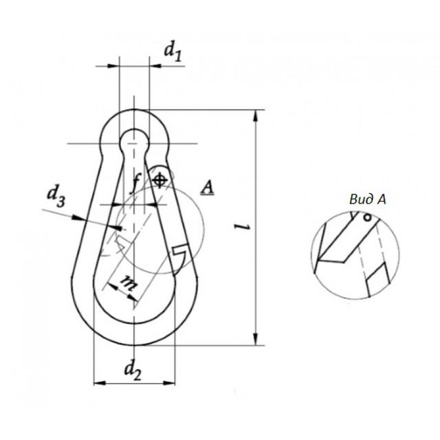 Схема нержавеющего карабина DIN 5299С