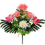 Букет Коктейль  роз, лилий и хризантем, 48см (10 шт в уп), фото 3
