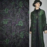 Жаккард пальтовый с шерстью цветы, пейсли зелено-фиолетовые на черном фоне, ш.150 (11627.001)