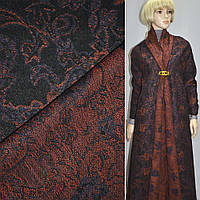 Жаккард пальтовый с шерстью цветы, пейсли орнажево-фиолетовые на черном фоне, ш.150 (11627.003)