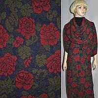 Жаккард пальтовый с шерстью в цветы красные на синем темном фоне, ш.150 (11628.002)
