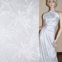 Жаккард костюмний білий з сріблястим люрексом, ш.150 (11636.001)