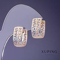 "Серьги Xuping 9х18мм ""позолота 18К"""