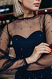 Женское коктейльное платье с сеткой и жемчугом (2 цвета), фото 3