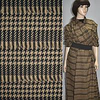 Ткань костюмная коричневая темная с бежевыми полосками и рваными нитями ( 11701.001 )
