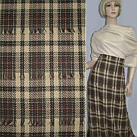 Тканина костюмна бежева в коричневі і зелені смуги з рваними нитками (11701.002)