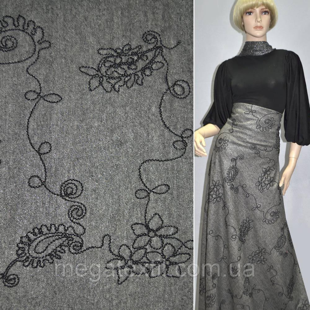 Твид черно-белый с серебристым напылением и черн. вышив.ш.150