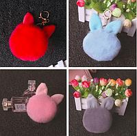 Помпон натуральный мех брелок с ушками для сумки рюкзака 8см ( код:  )