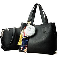 Сумка женская Litchi с помпоном и косынкой Черный, фото 1