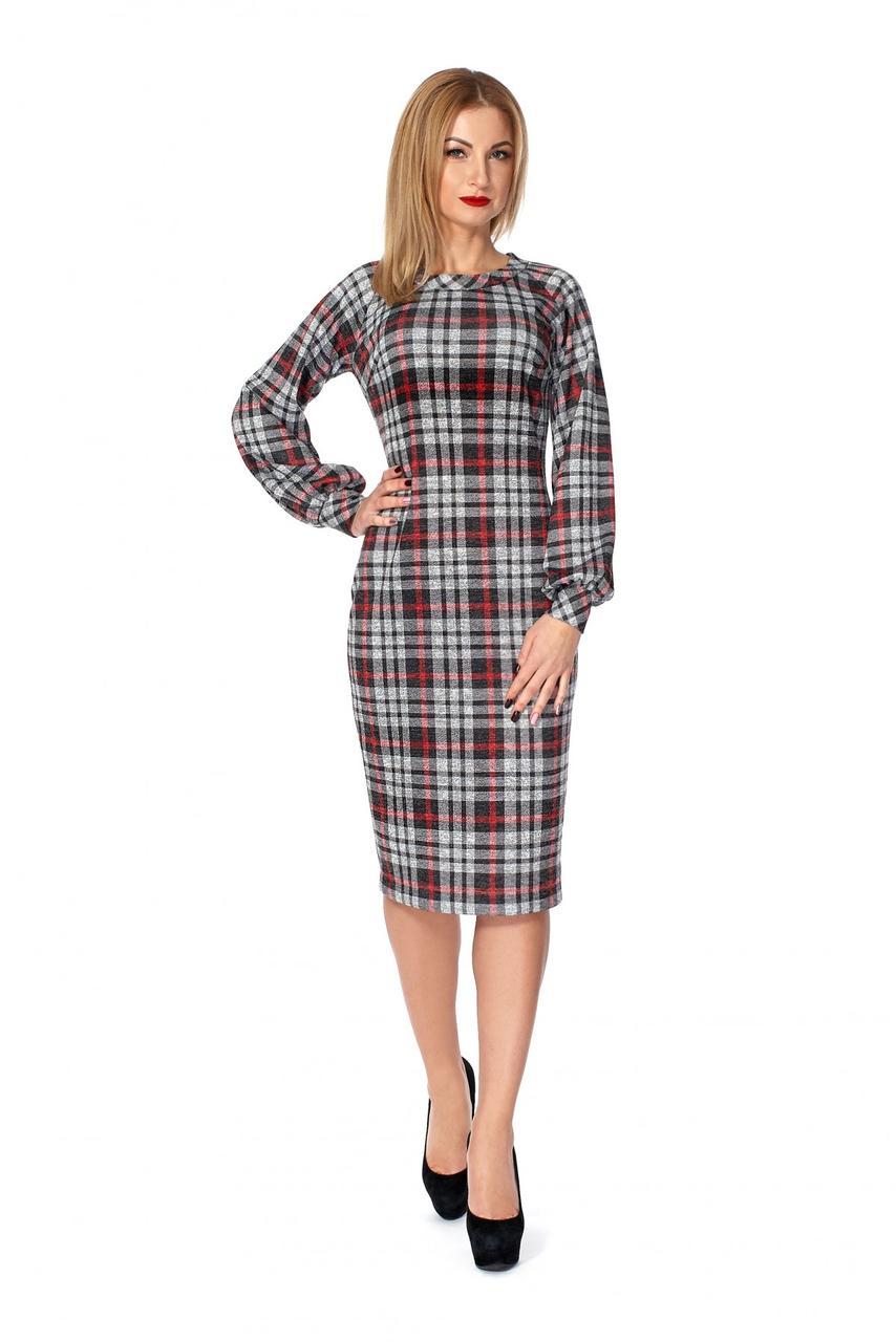 2ef3467fd7f Женское классическое платье в клетку прилегающего силуета  продажа ...