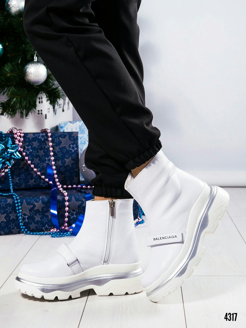Зимние белые ботинки Размер 37 39