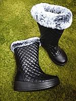 Женские Черные Стеганные Зимние Высокие Сапоги р.38,39, фото 1