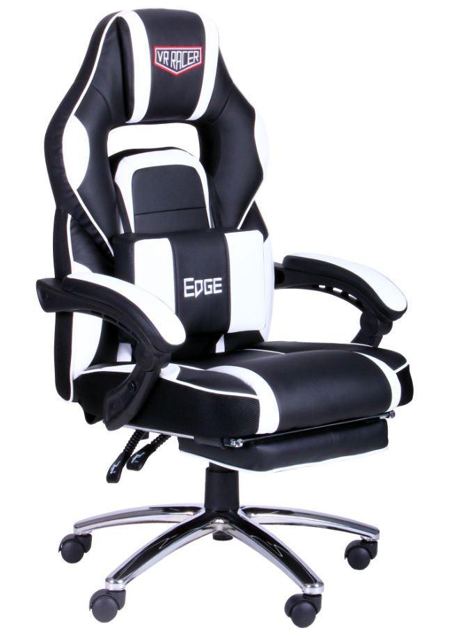 Кресло VR Racer Edge Omega черный/белый