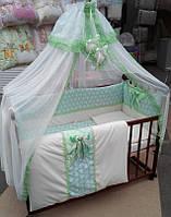 """Постельный набор в детскую кроватку """"Bonna Lux"""" бирюза"""