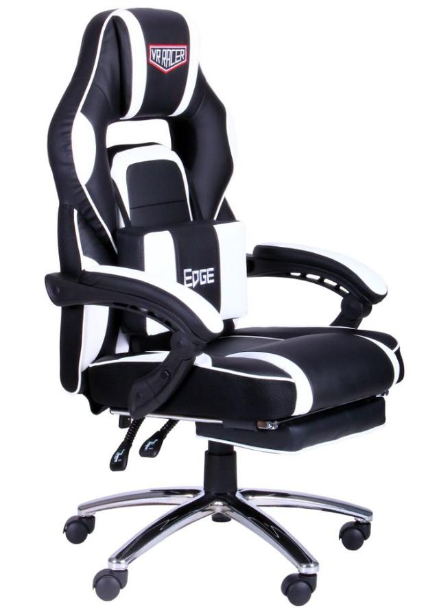 Кресло VR Racer Edge Omega черный/белый (Фото 2)