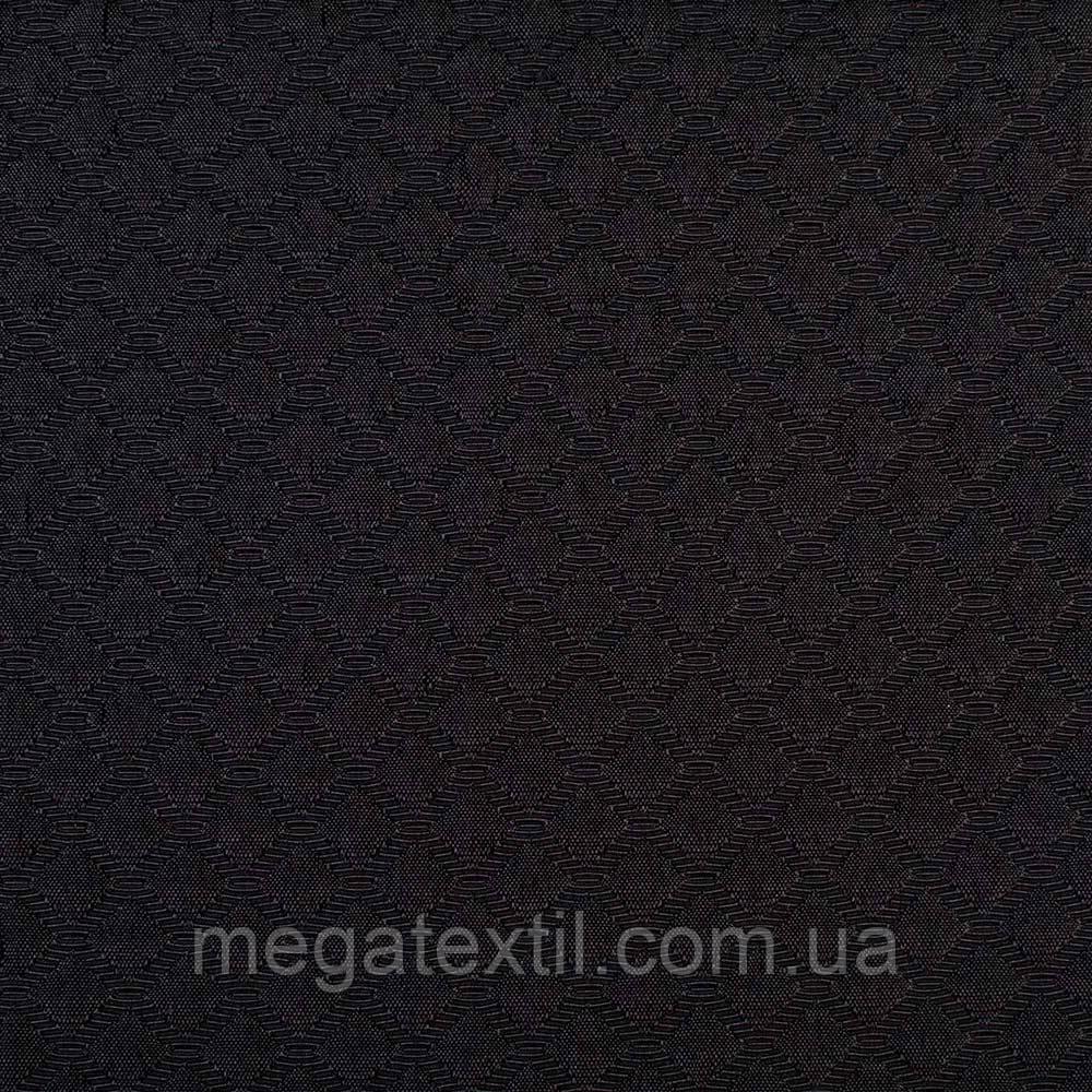 Жаккард черный в блестящие ромбы, ш.150