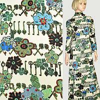 Жаккард соты принт коричневые ключи и зеленые цветы на кремовом фоне, ш.150 (11828.004)