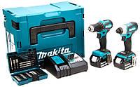 Набор аккумуляторного инструмента Makita DLX2220JX2 + 2 акб 18 V 3 Ah + з/у + MakPac + набор оснастки