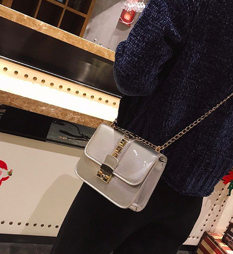 Сумка женская через плечо Fashion с шипами Серебро