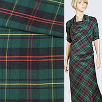 Шотландка с начесом зелено-черная с желто-красными полосами, ш.145 ( 11963.001 )