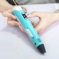 3D-ручка MyRiwell Голубая с Пластиком (2x9 метров) и Трафаретами
